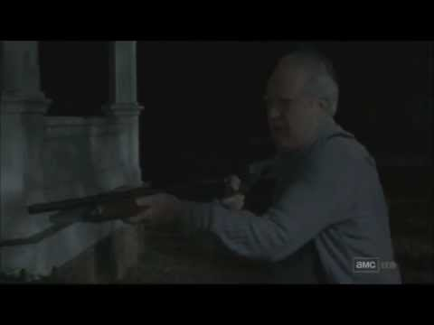 Hershel shooting a shotgun- infinite ammo