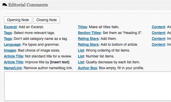 Editorial Comments Editor Box
