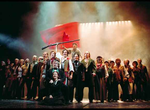 A scene from the musical Les Misérables.