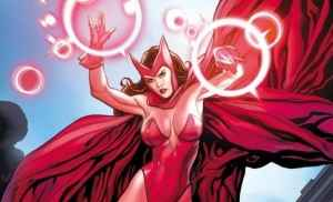 Wanda Maximoff poses in her skintight costume for the male reader.