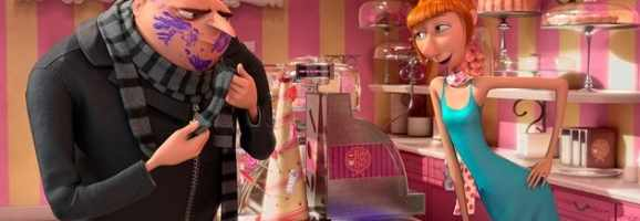 Gru and Lucy undercover in the cupcake shop.