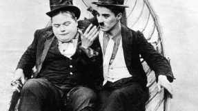 Roscoe 'Fatty' Arbuckle and Charlie Chaplin in a rare appearance together. From the film The Rounders.
