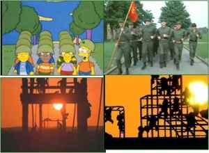 Children of Springfield under Bart's orders in the remake of Full Metal Jacket