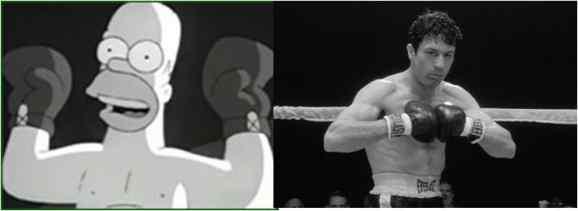 Homer Simpson/ Robert De Niro in Raging Bull