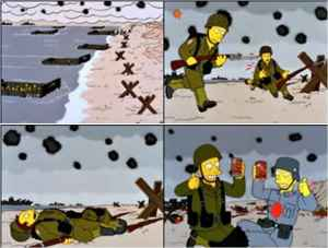 Simpsons commercial, remake of Saving Practice Ryan