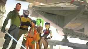 Concept art of the crew, from left to right: Kanan, Zeb, Ezra, Hera, Sabine