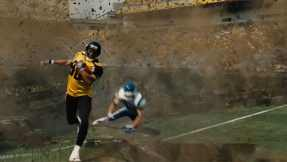 The Gotham Rogues' stadium floor is blown up in The Dark Knight Rises.