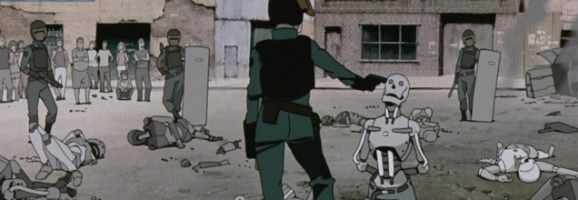 A scene from the two most praised sections of the Animatrix: The Second Renaissance Part I & II
