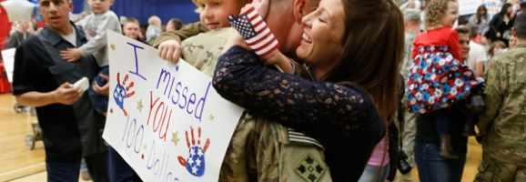 A hero welcoming home her hero.