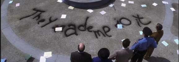 Donnie Darko leaves a note after trashing the school