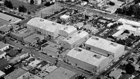 An aerial shot of the Desilu Stages in Hollywood in the 1960s.