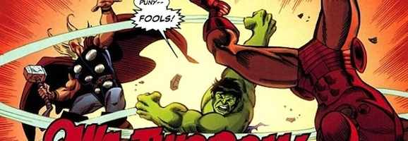 panel of Hulk vs. Thor and Iron Man