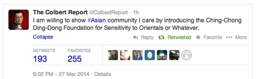 The racist tweet sent by the official Stephen Colbert Report's Twitter account.