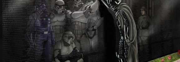 A controversial image of Darth Vader in front of the Vietnam Memorial found online