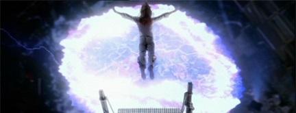 Buffy's sacrifice evokes the image of Christ on the cross.