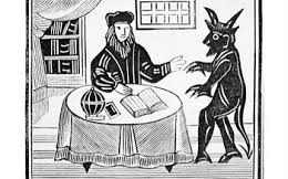 Faustus agrees to receive supernatural powers in exchange for the eternal damnation of his soul