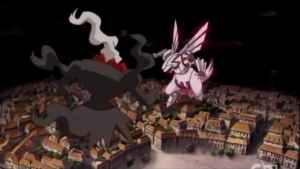 Palkia and Darkrai fight over the brown rooftops of Alamos city.