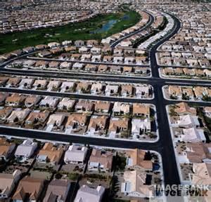 Aerial shot of American suburbia