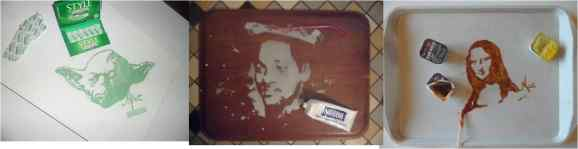 Vivi Mac's work: Yoda made of gum, Will Smith made of toothpaste and Mona Lisa in barbecue sauce