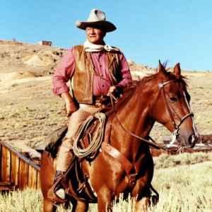 John Wayne atop his horse