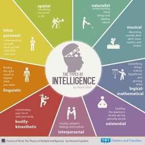 Graphic showing various type of intelligences human beings can have.