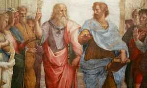 Plato and Aristotle - Detail from The School of Athens by Raphael, 1510-1511.