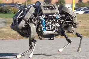 WildCat built by Boston Dynamics. It can reach speeds of 16 mph, carry up to 400 lbs, and go 30 miles before refueling.
