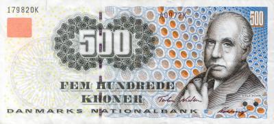 Physicist Niels Bohr memorialized on the 500 Danish Kroner