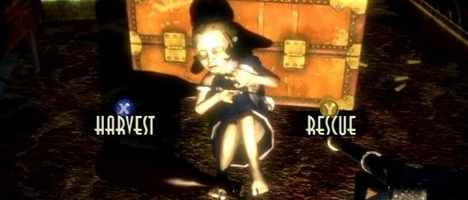 The player must choose between harvesting or rescuing the Little Sister.