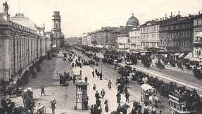A view of Nevsky Prospect in St. Petersburg circa 1900