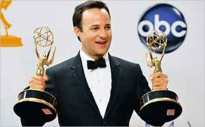 Danny Strong with his Emmys for Gamechange
