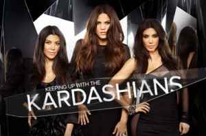 Kim, Khloe and Kourtney Krdashian in a promotional photograph for their television show.