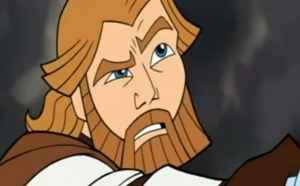 Obi-Wan Kenobi is confused after his lightsaber proves ineffectual against Durge, an alien bounty hunter.