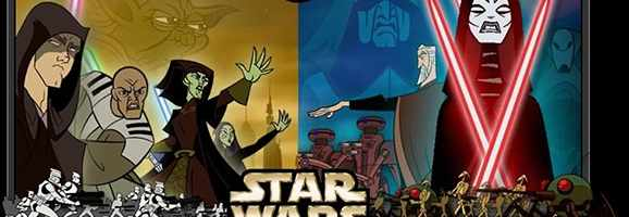 Republic and Separatist characters face off in the traditionally animated Star Wars: Clone Wars.
