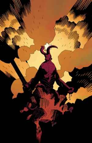 Hellboy in his full demonic glory, complete with flaming crown and horns.