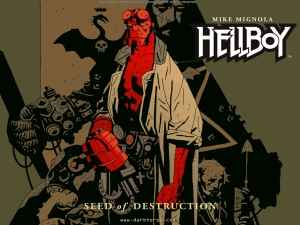 "Hellboy in full regalia as seen on the cover of ""Seed of Destruction."""