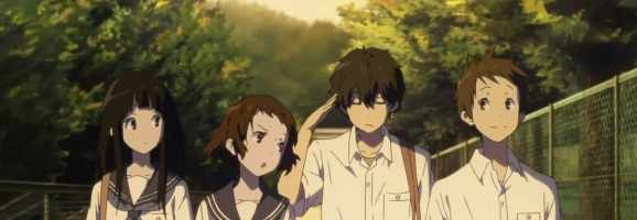 The cast of Hyouka from left to right: Chitanda Eru, Ibara Mayaka, Oreki Houtarou, Fukube Satoshi.