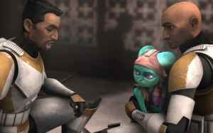 """Clone Troopers Waxer and Boil comfort Numa in """"Innocents of Ryloth."""""""