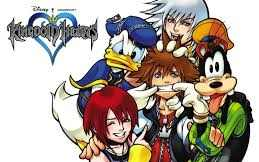 Sora with his friends Riku, Kairi, Donald, and Goofy
