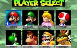 The character selection screen from Mario Kart 64