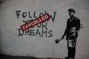 A Banksy artwork which portrays the restriction placed on art in the capitalist marketplace