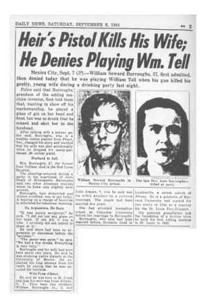 The newspaper article detailing Burroughs' murder of his wife during a game of William Tell