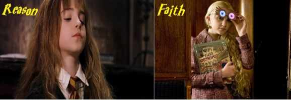 Hermione stands as the one who opposes faith, in other words the skeptic. She has a lot of criticisms for Luna Lovegood herself and when Luna makes her claims, Hermione shows her impatience.