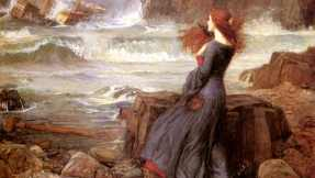 John William Waterhouse's painting depicts Miranda witnessing the capsizing of the ship offshore