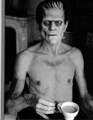 A rather famous image of  Karloff on the set of Frankenstein
