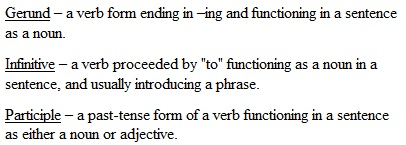 "Gerund – a verb form ending in –ing and functioning in a sentence as a noun. Infinitive – a verb proceeded by ""to"" functioning as a noun in a sentence, and usually introducing a phrase. Participle – a past-tense form of a verb functioning in a sentence as either a noun or adjective."