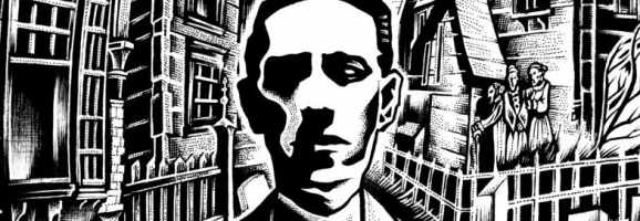 H. P. Lovecraft in Salem, illustration by FatherStone.
