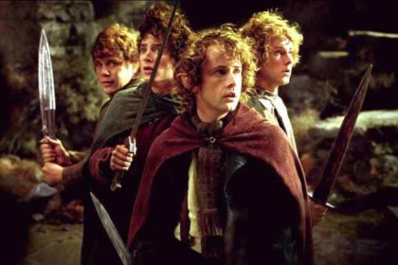 The four hobbits prepare for battle in the depths of Moria.