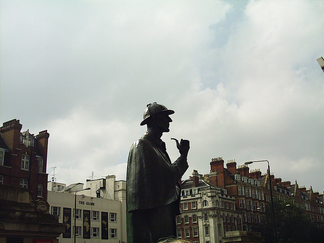 A statue of the quintessential mystery figure, Sherlock Holmes