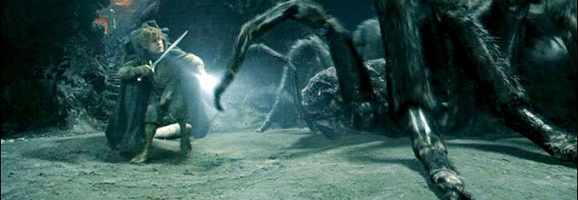Samwise Gamgee attacks Shelob as he tries to rescue Frodo from her clutches.
